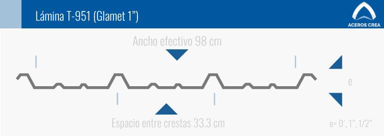 Medidas de la lámina traslúcida T-951