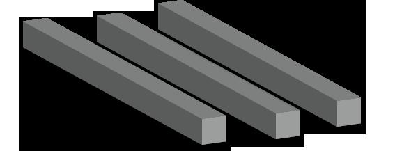 Cuadrado macizo de acero